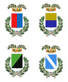 Four Italian heraldry shields. Computer-made collection of four heraldry shields. The features of these shields are typical of Italian provinces Royalty Free Stock Images