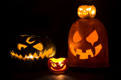 Four Jack-o'-lanterns Royalty Free Stock Image