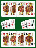 Four Jacks. Playing cards: four jacks in four different arrangements Stock Photos