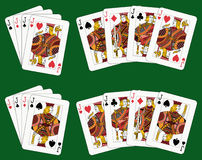 Four Jacks. Playing cards: four jacks in four different arrangements Royalty Free Stock Images
