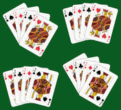 Four Jacks. Playing cards: four jacks in four different arrangements Royalty Free Stock Photography