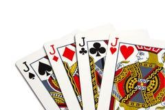 Four jacks. Over white background Royalty Free Stock Images