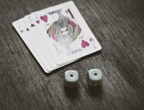 Four Jacks closeup and two dice Stock Photography