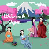 Four japanese girls in national costumes vector image vector illustration