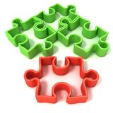 Four jigsaw puzzle outlined pieces. Front view Stock Photos