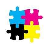 Four jigsaw puzzle pieces in CMYK colors. Printer theme. Vector illustration.  Stock Photo