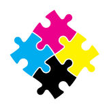 Four jigsaw puzzle pieces in CMYK colors. Printer theme. Vector illustration.  Stock Image