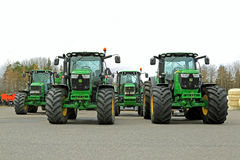 Four John Deere Agricultural Tractors on a Yard Royalty Free Stock Photography
