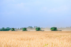 Four John Deere Combine Harvesters Harvesting Wheat in the Field. Stock Photo