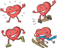 Four joyful hearts in various activities. Vector illustration of four joyful hearts in various activities: riding on skateboard, rolling on roller-blades, skiing Royalty Free Stock Photography