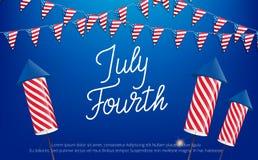 Four juli, de viering van de de Onafhankelijkheidsdag van de V.S. Banner met het van letters voorzien, buntings en vuurwerk Royalty-vrije Stock Afbeeldingen