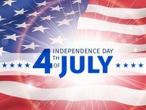 Four juli, onafhankelijkheidsdag - affiche met de vlag van de Eenheid Stock Afbeelding