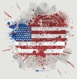 Four juli Van Achtergrond grunge vector Grungedruk voor t-shirt Abstracte vuiltextuur als achtergrond Grungebanner met Royalty-vrije Stock Foto's