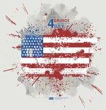 Four juli Van Achtergrond grunge vector Grungedruk voor t-shirt Abstracte vuiltextuur als achtergrond Grungebanner met Royalty-vrije Stock Foto
