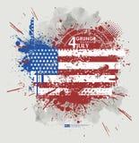 Four juli Van Achtergrond grunge vector Grungedruk voor t-shirt Abstracte vuiltextuur als achtergrond Grungebanner met Royalty-vrije Stock Fotografie