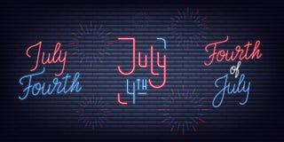 Four juli Van de de Onafhankelijkheidsdag van de V.S. de inzameling van het neontekens Vierde Juli-banners van het vakantieneon stock illustratie