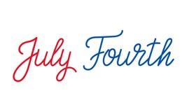 Four juli Van letters voorziend embleem voor de viering van de de Onafhankelijkheidsdag van de V.S. Royalty-vrije Stock Foto's