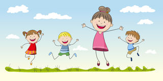 Four jumping Children Royalty Free Stock Photos