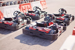 Four karts before the start Stock Images