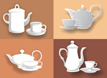 Four kettle and cups Stock Images