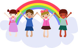 Four kids. Illustration of a group of school kids Royalty Free Stock Photography