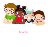 Four kids and banner. Illustration of four kids and banner Royalty Free Stock Photography