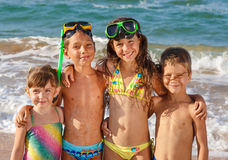 Four kids on the beach Royalty Free Stock Photography