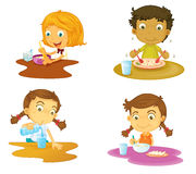 Four kids having food Royalty Free Stock Image