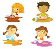 Four kids having food. Illustration of four kids having food on white background Royalty Free Stock Image