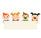 Four kids holding blank banner on white background Royalty Free Stock Photography