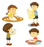 A four kids. Illustration of a four kids on a white background Stock Photography