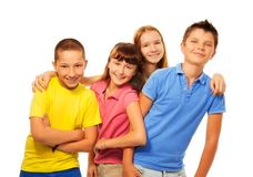 Four kids laughing royalty free stock photography