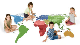 Four kids painting the world Royalty Free Stock Photo