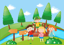 Four kids in the park. Illustration Stock Photography