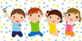 Four kids playing hand paint Stock Photography
