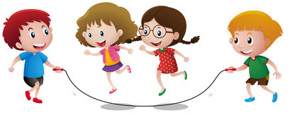 Four kids playing jump rope Royalty Free Stock Photos
