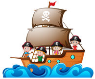 Four kids playing pirate in the ship royalty free illustration