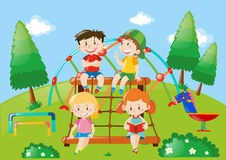 Four kids playing in playground. Illustration Royalty Free Stock Photography