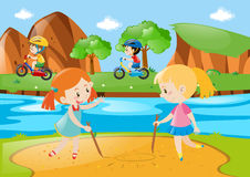Four kids playing in the public park Stock Photography