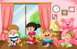 Four kids playing toys in livingroom. Illustration Royalty Free Stock Photography