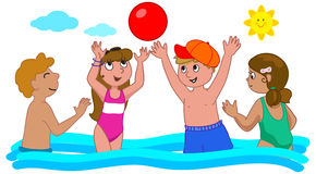 Four kids playing in the water Stock Photos