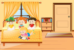 Four kids reading book in bedroom. Illustration Royalty Free Stock Photos