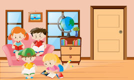 Four kids reading book in living room. Illustration Stock Images