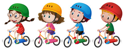 Four kids riding bike with helmet on. Illustration Stock Images