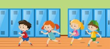 Four kids running in locker room. Illustration stock illustration