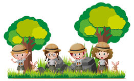 Four kids in safari outfit hiking in woods. Illustration royalty free illustration