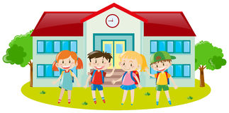 Four kids at school ground. Illustration Stock Image