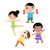 Four kids sport. Illustration of cute four kids sport Royalty Free Stock Photo