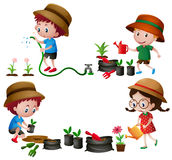 Four kids watering and planting trees Royalty Free Stock Images