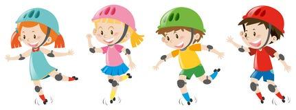 Four kids wearing helmet Royalty Free Stock Photo